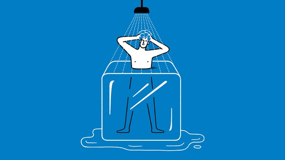 Illustration of man showering in ice cube