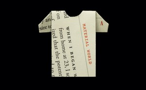"illustration: ""Material World"" column folded into a T-shirt shape"