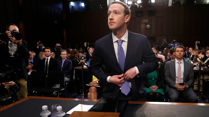 Mark Zuckerberg at the joint Senate Judiciary and Commerce Committees hearing on the company's protection of user data