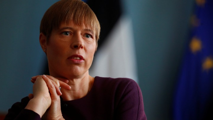Estonian President Kersti Kaljulaid speaks at an interview in Tallinn.