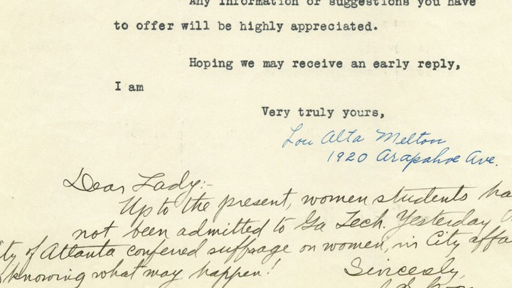 An excerpt of a response to the engineer Lou Alta Melton's request for information about fellow women in the field