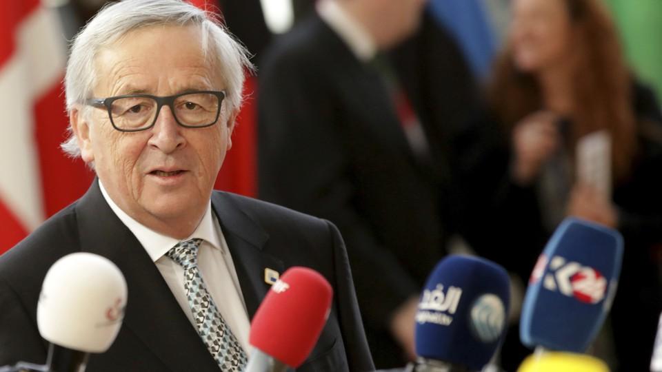 European Commission president Jean-Claude Juncker speaks to reporters in Brussels.