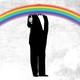 Donald Trump with a rainbow for a head