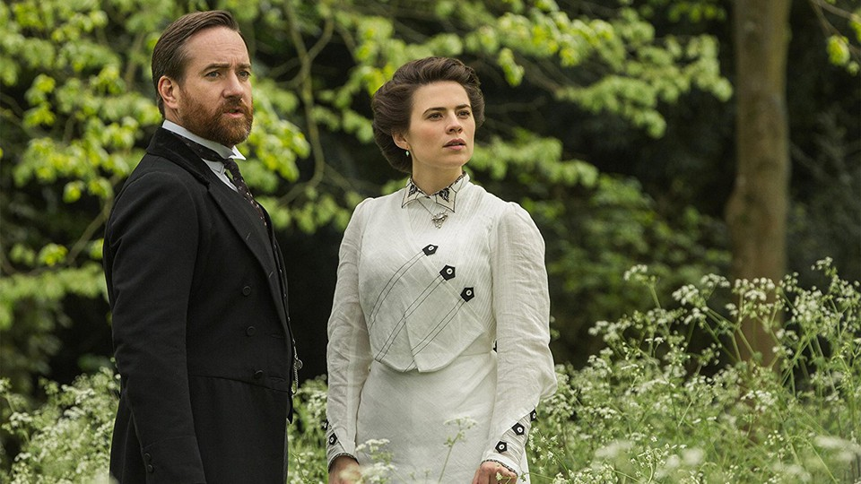 Matthew Macfadyen as Henry Wilcox and Hayley Atwell as Margaret Schlegel in the new Starz miniseries 'Howards End'