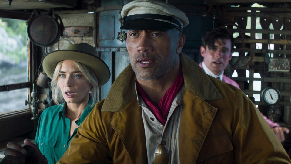 Dwayne Johnson looking befuddled in his latest film, 'Jungle Cruise'