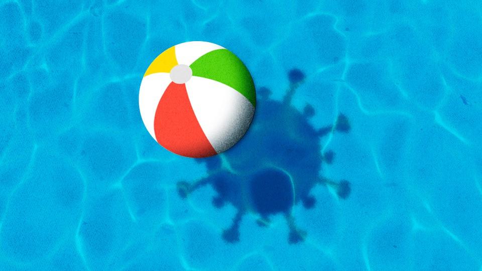An illustration of a beach ball casting a virus-shaped shadow