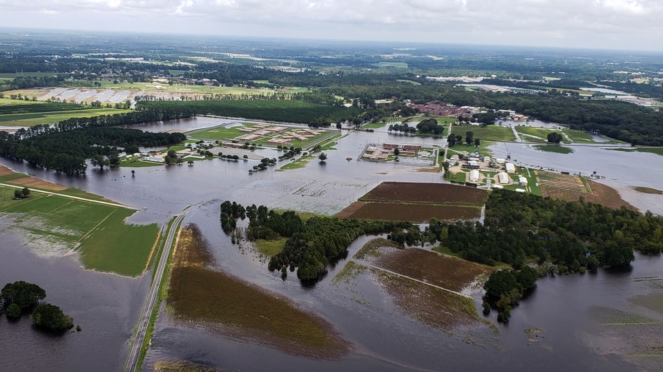 Aerial view of farms flooded after Hurricane Florence in eastern North Carolina
