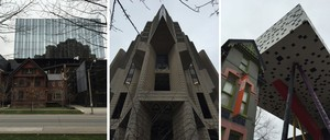 Three photographs of different architectural styles in downtown Toronto