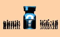 A graphic showing a variety of people next to a vaccine vial, which has a question mark on it