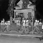 photo: Police in riot gear march down Plymouth Avenue during riots in North Minneapolis on July 21, 1967.