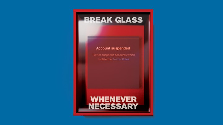 Illustration of emergency glass with a suspended Twitter account behind it.