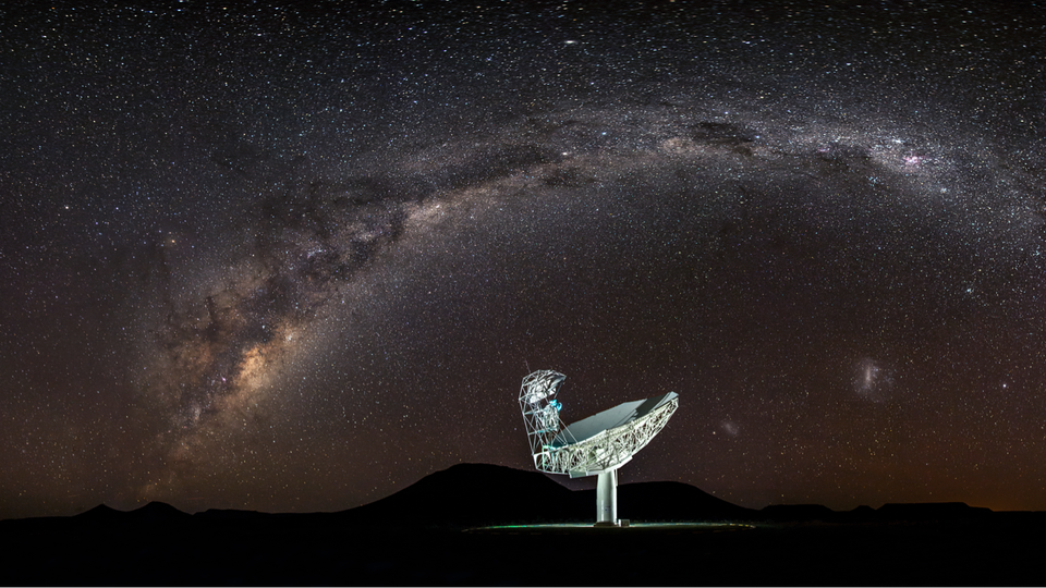The Milky Way curves over the MeerKAT telescope in South Africa
