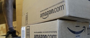 Amazon boxes are pictured.