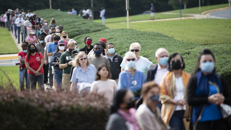 People line up at an early-voting location in Fairfax, Virginia.