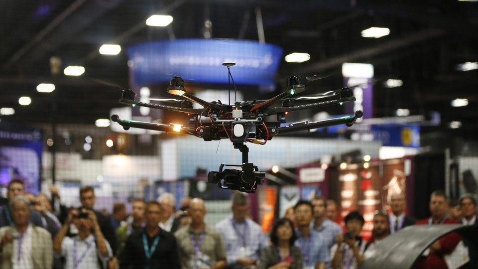 A drone is demonstrated at an exhibition in Washington, D.C.