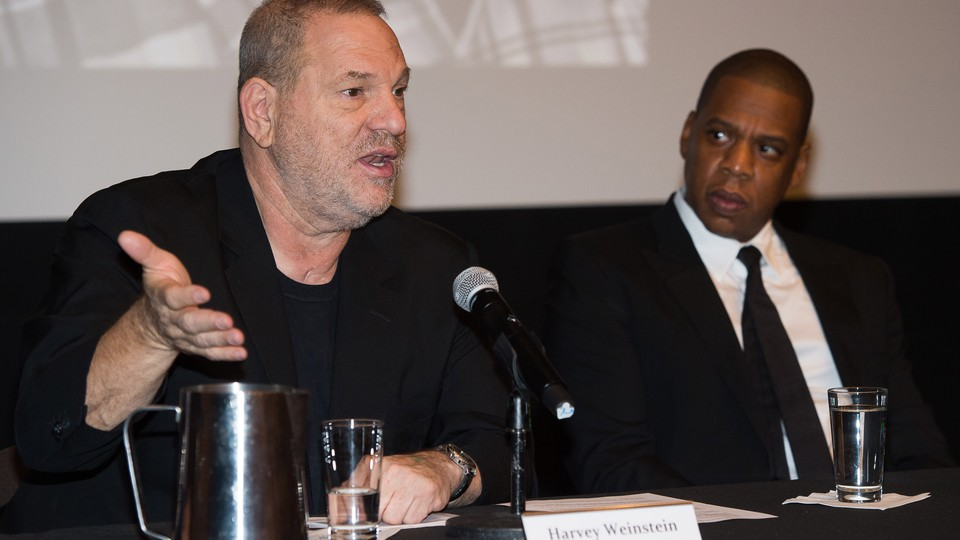 Harvey Weinstein and Jay-Z announcing the release of 'Time: The Kalief Browder Story' in 2016.