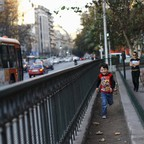 A child plays in Santiago, Chile.