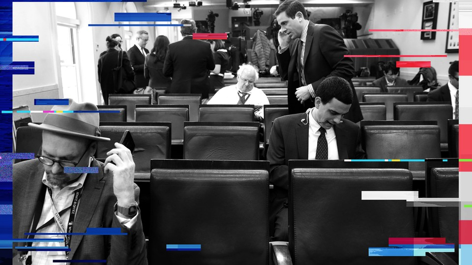 White House correspondents work in the briefing room in February 2017.