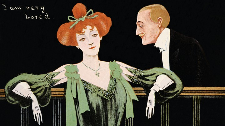 """A vintage illustration of a man and woman in formal attire, with the caption """"I am very bored"""""""