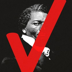 An illustration of Frederick Douglass with a checkmark.