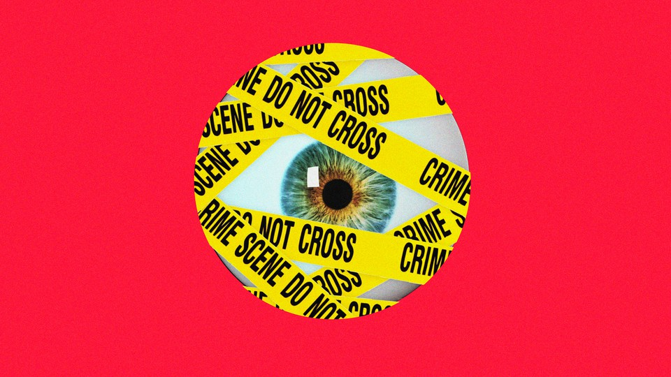 Artwork of an eyeball covered in yellow police tape
