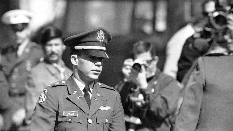 Lieutenant William Calley outside a courthouse in February 1970