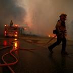 Firefighters battling the Woolsey Fire in Malibu, California.