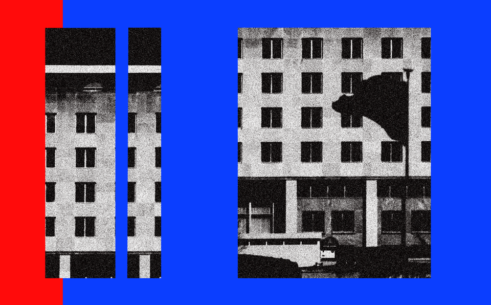illustration with photo of State Department building