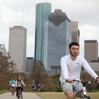 photo: Cyclists in Buffalo Bayou Park in downtown Houston.