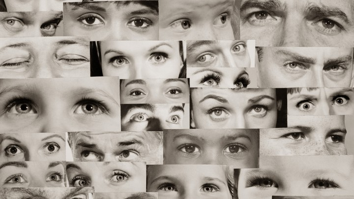 A collage of images of people's eyes