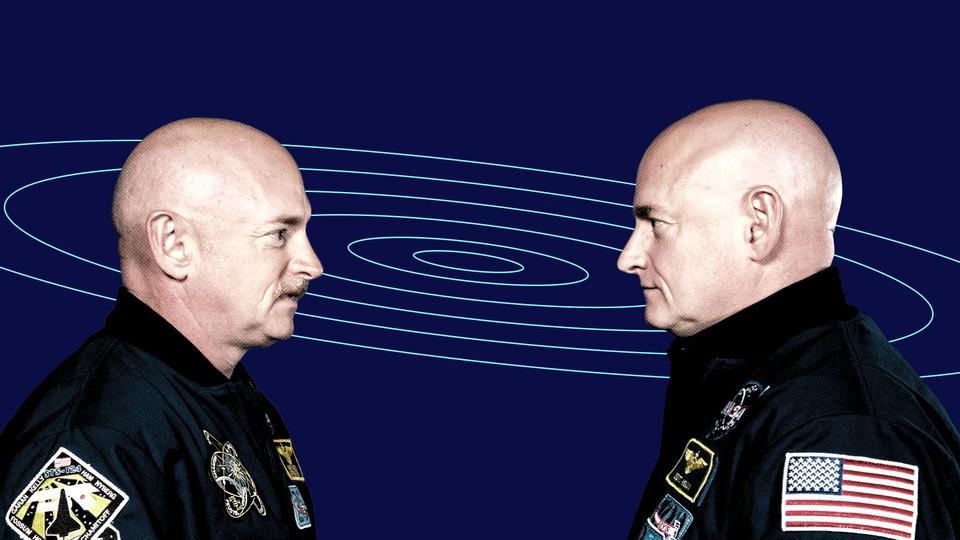 Scott Kelly and Mark Kelly in NASA uniforms