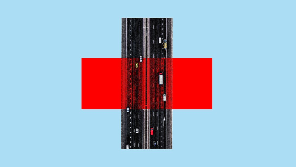 An illustration of a highway and a Red Cross