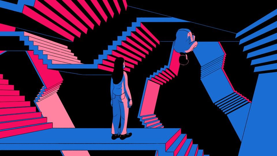 An illustration of a woman looking at a man sitting upside down in a maze of stairs.