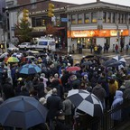 People gather for a vigil in the aftermath of a deadly shooting at the Tree of Life Synagogue.