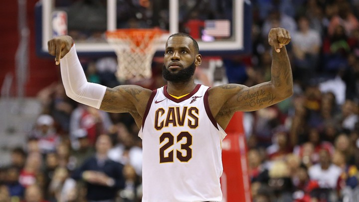 The Cleveland Cavaliers forward LeBron James gestures after scoring against the Washington Wizards