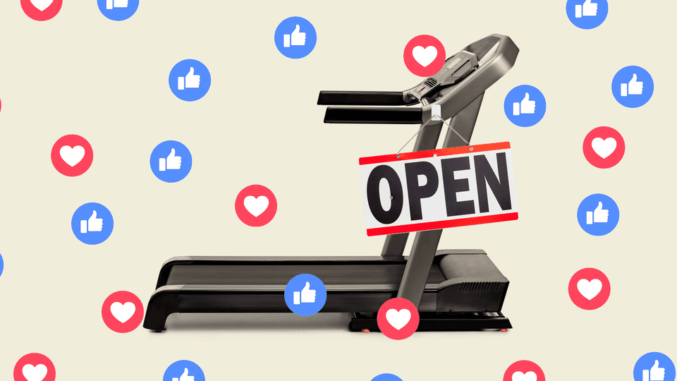 """A photo collage of a  treadmill with an """"open"""" sign and Facebook icons on top of it."""