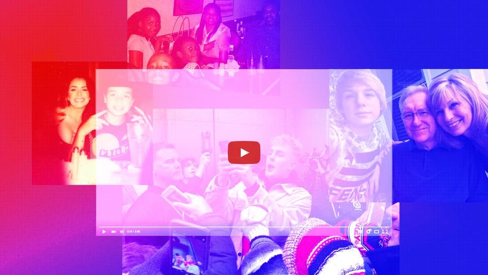 Photos of teen social-media stars with their families, overlaid with a YouTube frame