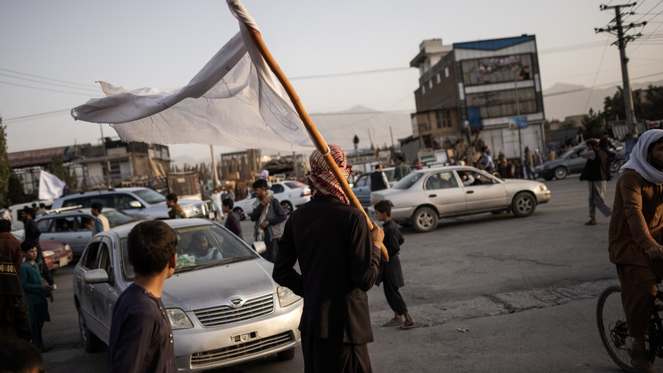 A Taliban member in Kabul, Afghanistan, on August 15, 2021