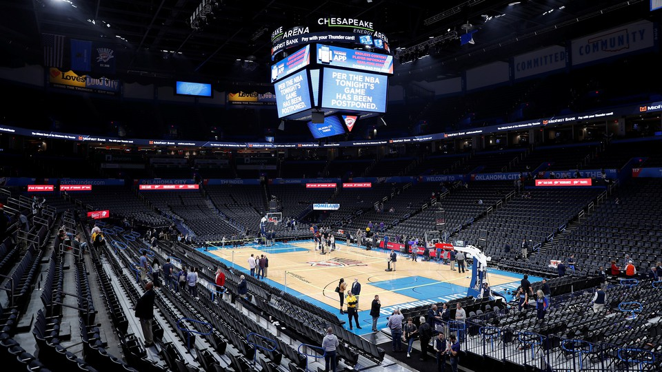 Fans leaving a canceled Utah Jazz-Oklahoma City Thunder game.