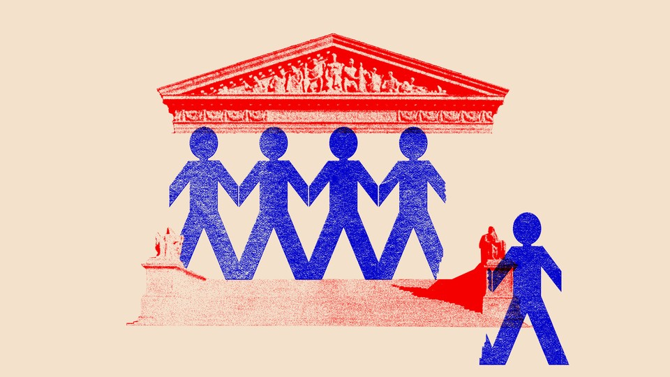 Illustration of a paper-people chain in front of the Supreme Court, with one person ripped off