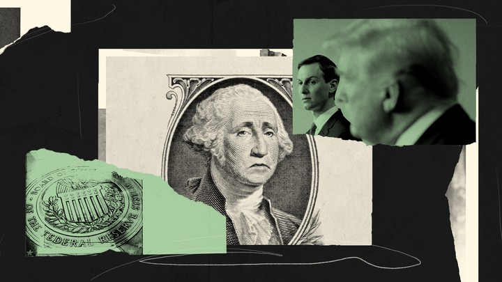 An illustration of money, Jared Kushner, and Donald Trump.
