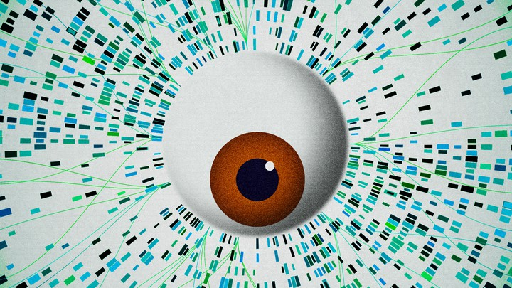 An illustration of an eyeball looking at genetic sequencing.