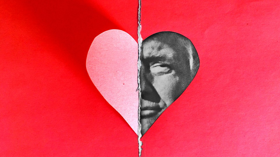 An illustration of a paper heart with Donald Trump's face filling in half of the heart icon