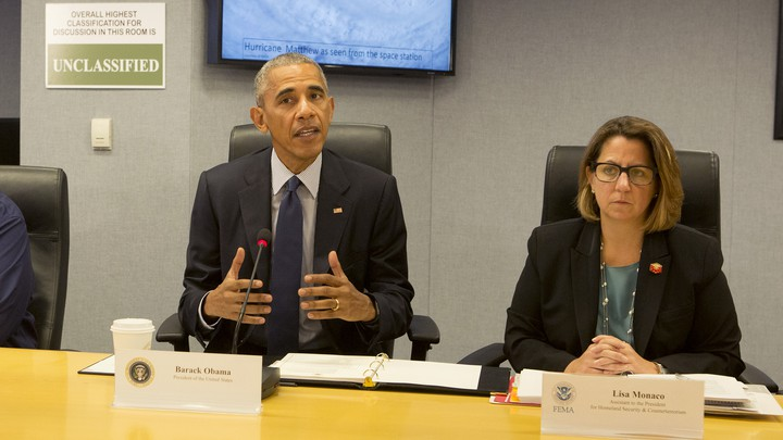 President Obama and Lisa Monaco, his top homeland security adviser, attend a briefing at the Federal Emergency Management Agency