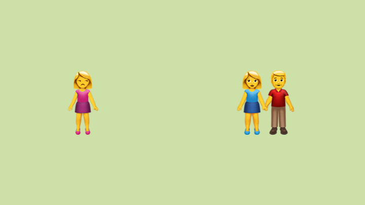 A graphic showing an emoji of a single woman glaring at an emoji of a couple holding hands.