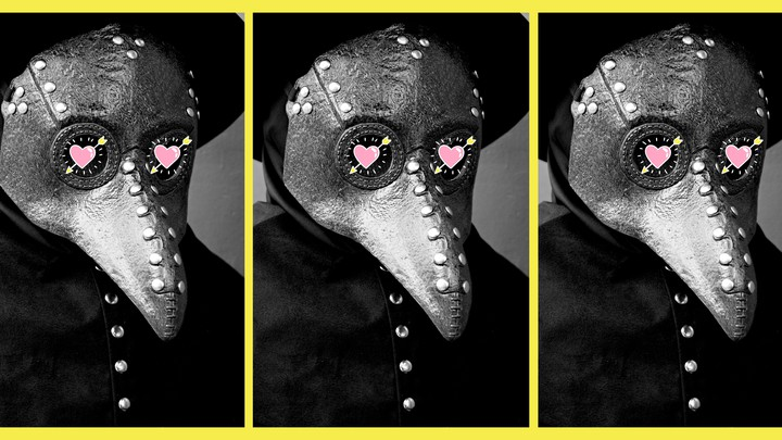 A person dressed in a 17th-century plague-doctor costume, with cartoon hearts over the eyes.