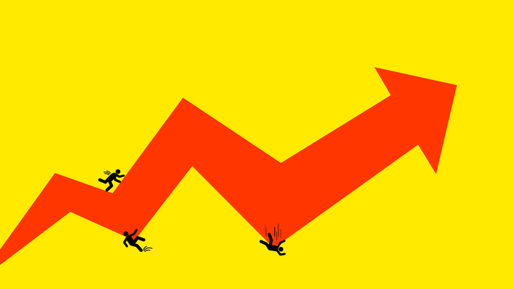 An illustration of a spiking chart with people.