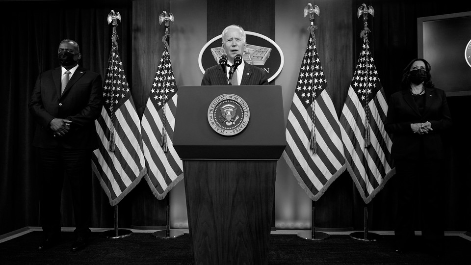 President Joe Biden speaks at the Pentagon alongside Vice President Kamala Harris and Defense Secretary Lloyd Austin