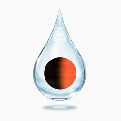 An illustration of an exoplanet inside a droplet of water
