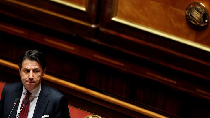 Italian Prime Minister Giuseppe Conte addresses the upper house of parliament.